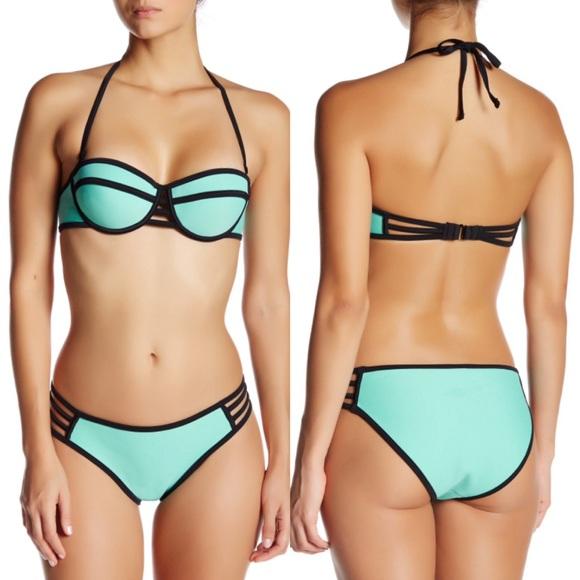 8bda3dcf200ba Strappy Neoprene Aqua Mint Push-Up Surf Bikinis